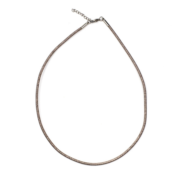 "Metallic Satin Cord Necklace - Silver & Rose Gold, 2mm, 16-17"" Stainless Steel Adjustable Clasp"