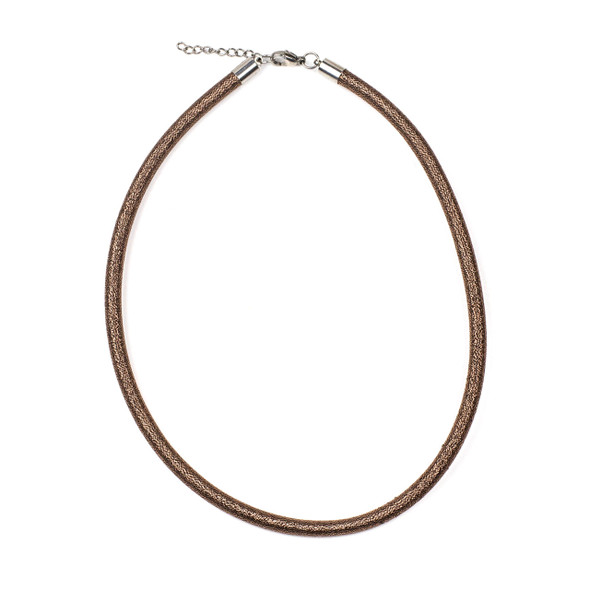 "Metallic Satin Cord Necklace - Antique Copper, 5mm, 16-17"" Stainless Steel Adjustable Clasp"