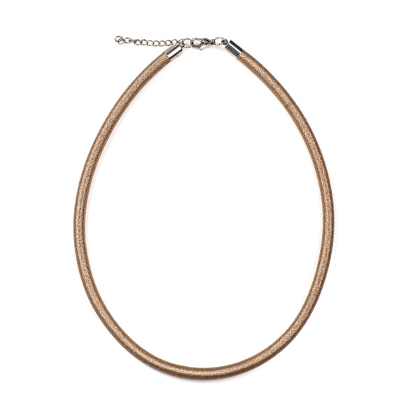 "Metallic Satin Cord Necklace - Rose Gold, 5mm, 16-17"" Stainless Steel Adjustable Clasp"