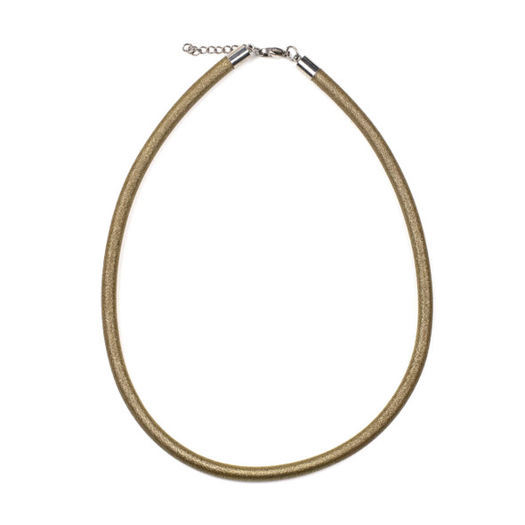 "Metallic Satin Cord Necklace - Gold, 5mm, 16-17"" Stainless Steel Adjustable Clasp"