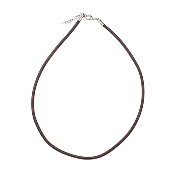 "Satin Cord Necklace - Brown, 3mm, 16-18"" Stainless Steel Adjustable Clasp"