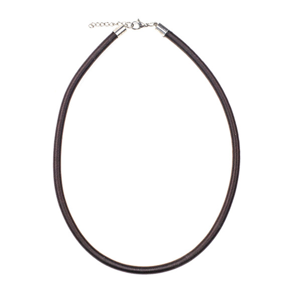 "Satin Cord Necklace - Brown, 5mm, 16-18"" Stainless Steel Adjustable Clasp"