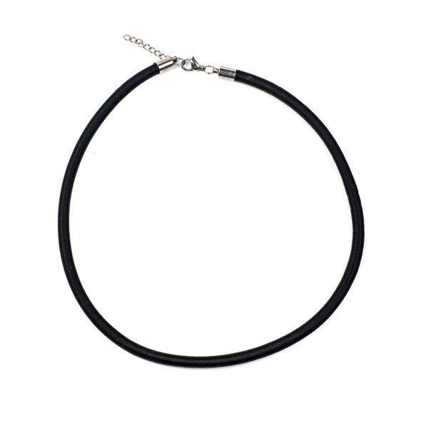 "Satin Cord Necklace - Black, 5mm, 16-18"" Stainless Steel Adjustable Clasp"