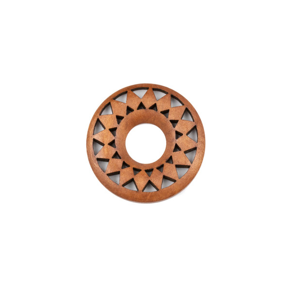 Aspen Wood Laser Cut 36mm Brown Donut Pendant with Flat Back and Diamonds - 1 per bag