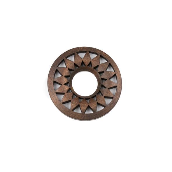 Aspen Wood Laser Cut 36mm Dark Brown Donut Pendant with Flat Back and Diamonds - 1 per bag