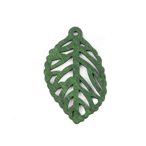 Aspen Wood Laser Cut 35x57mm Green Leaf Pendant - 1 per bag
