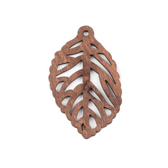 Aspen Wood Laser Cut 35x57mm Dark Brown Leaf Pendant - 1 per bag