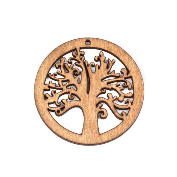 Aspen Wood Laser Cut 49mm Natural Tree Pendant - 1 per bag