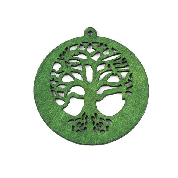 Aspen Wood Laser Cut 54x56mm Green Tree of Life Pendant - 1 per bag