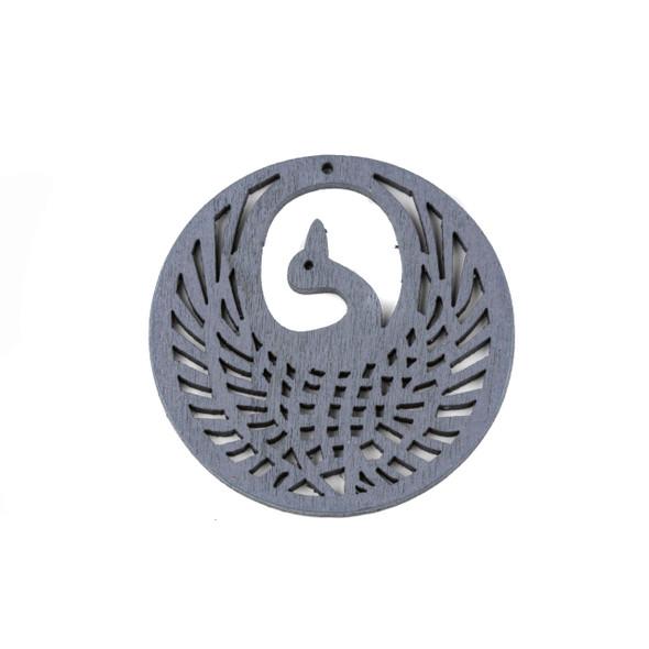 Aspen Wood Laser Cut 47mm Grey Phoenix Coin Pendant - 1 per bag