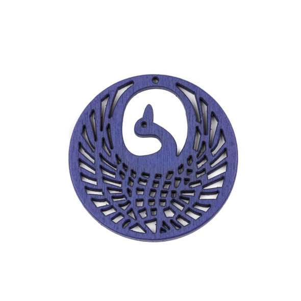 Aspen Wood Laser Cut 47mm Blue Phoenix Coin Pendant - 1 per bag