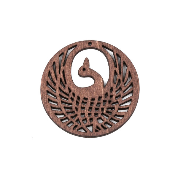 Aspen Wood Laser Cut 47mm Dark Brown Phoenix Coin Pendant - 1 per bag
