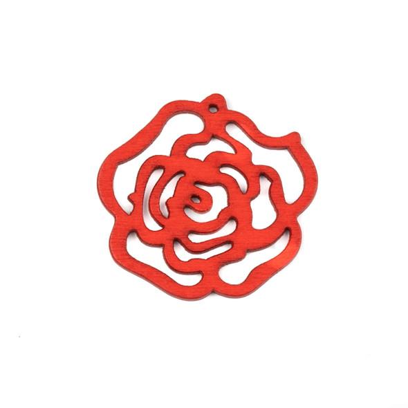 Aspen Wood Laser Cut 46mm Bright Red Cut Out Rose Pendant - 1 per bag