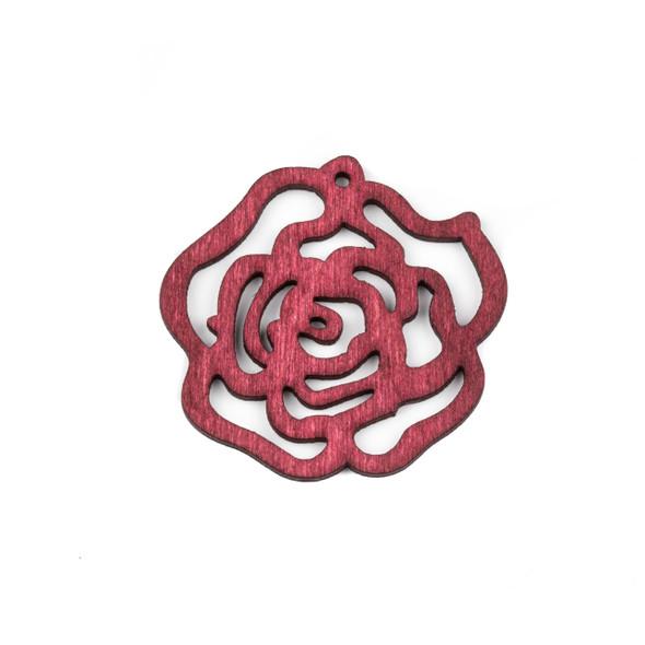 Aspen Wood Laser Cut 46mm Red Cut Out Rose Pendant - 1 per bag