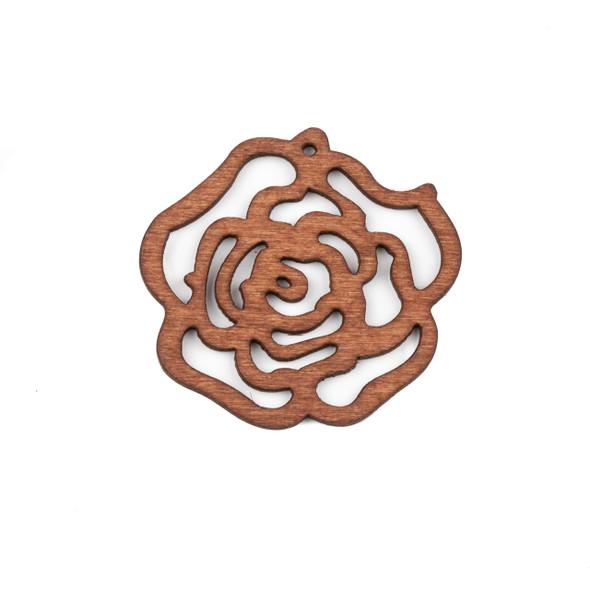 Aspen Wood Laser Cut 46mm Brown Cut Out Rose Pendant - 1 per bag