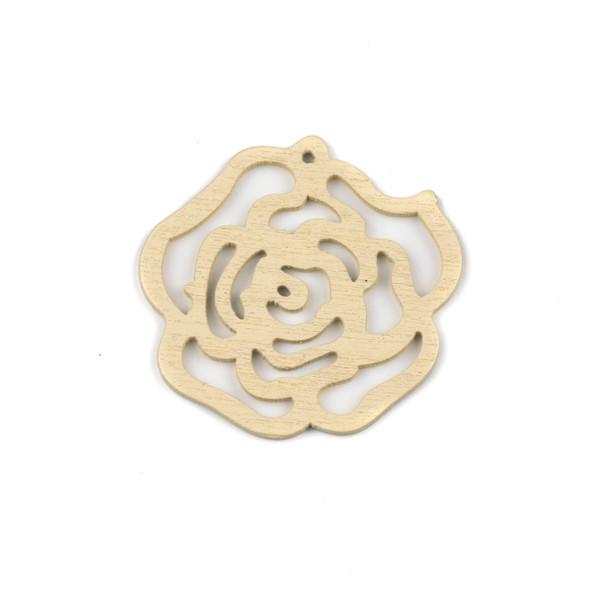 Aspen Wood Laser Cut 46mm Cream Cut Out Rose Pendant - 1 per bag