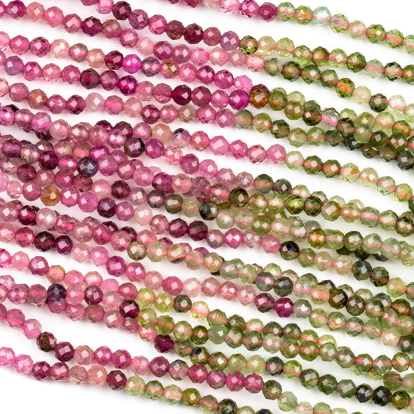 Pink and Green Tourmaline 3mm Faceted Round Beads - 15 inch strand