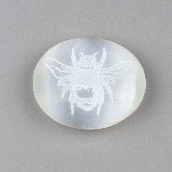 Selenite 2.5 inch Honey Bee Engraved Palm Stone