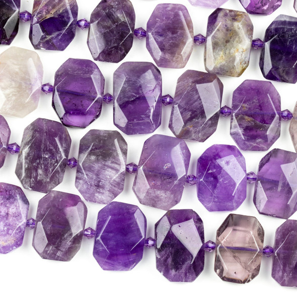 Amethyst 16x22mm Faceted Tablet Beads - 16 inch strand