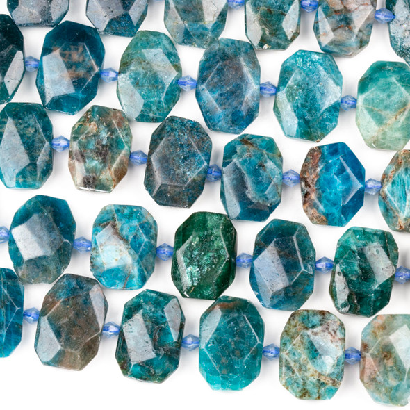 Apatite 16x22mm Faceted Tablet Beads - 15 inch strand