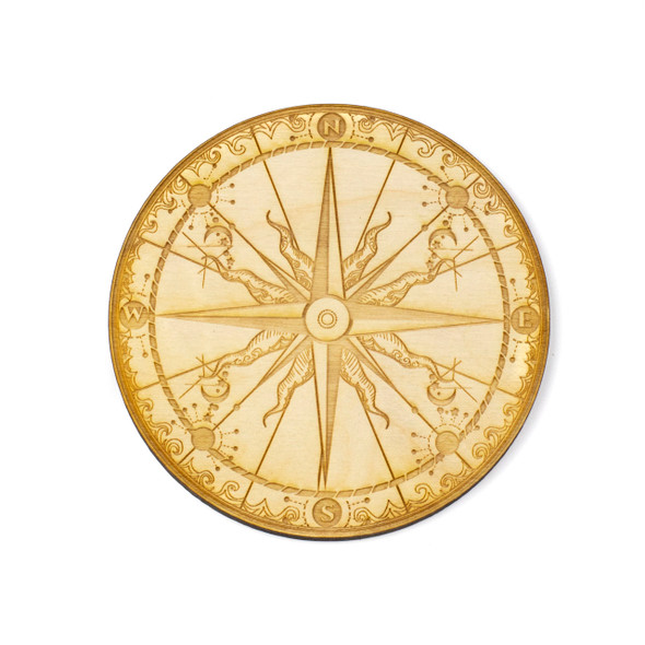 Compass Crystal Grid - 4 inch, Birch Wood