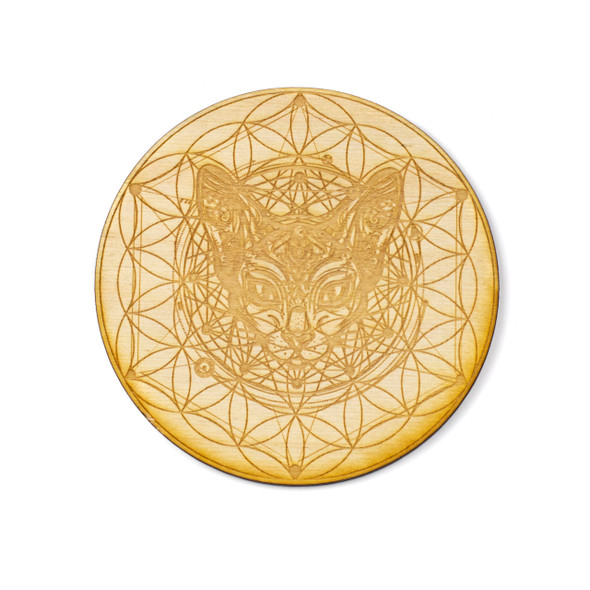 Cat Flower of Life Crystal Grid - 4 inch, Birch Wood