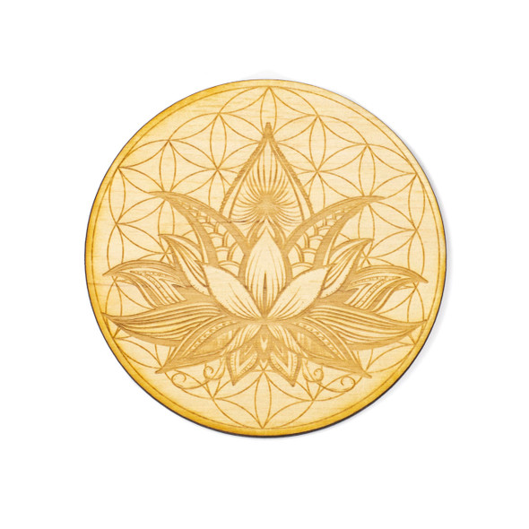 Flower of Life Lotus Crystal Grid #2 - 4 inch, Birch Wood