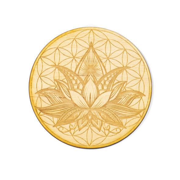 Flower of Life Lotus Crystal Grid #2 - 4 inch, Birch Wood