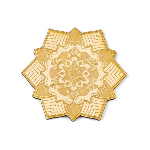 Mandala Crystal Grid #1 - 4 inch, Birch Wood