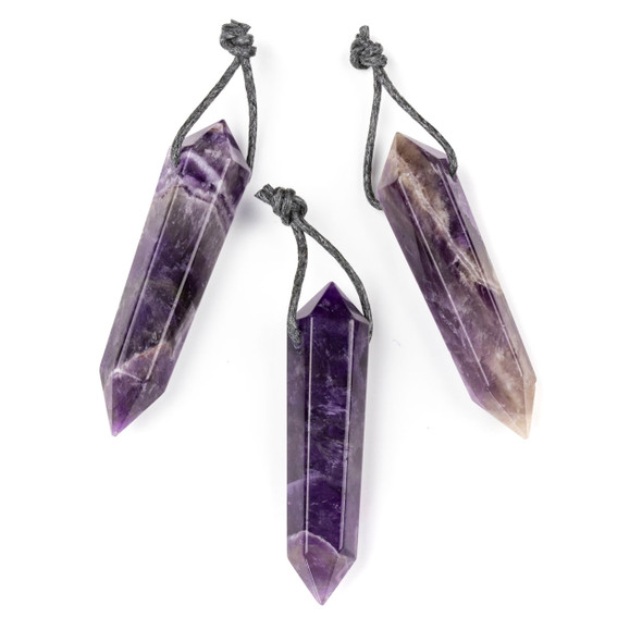 Amethyst 12x52mm Top Drilled Hexagonal Point Pendant - 1 per bag