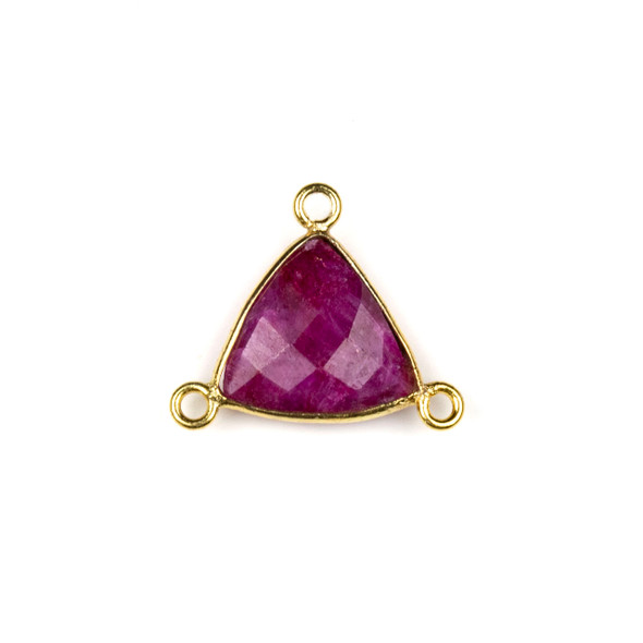 Ruby 16x18mm Faceted Triangle Link with a Gold Plated Brass Bezel and 3 Loops - 1 per bag