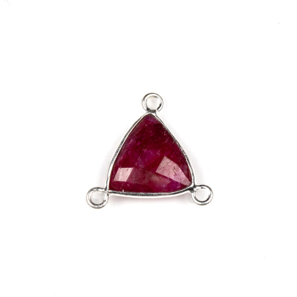 Ruby 16x18mm Faceted Triangle Link with a Silver Plated Brass Bezel and 3 Loops - 1 per bag