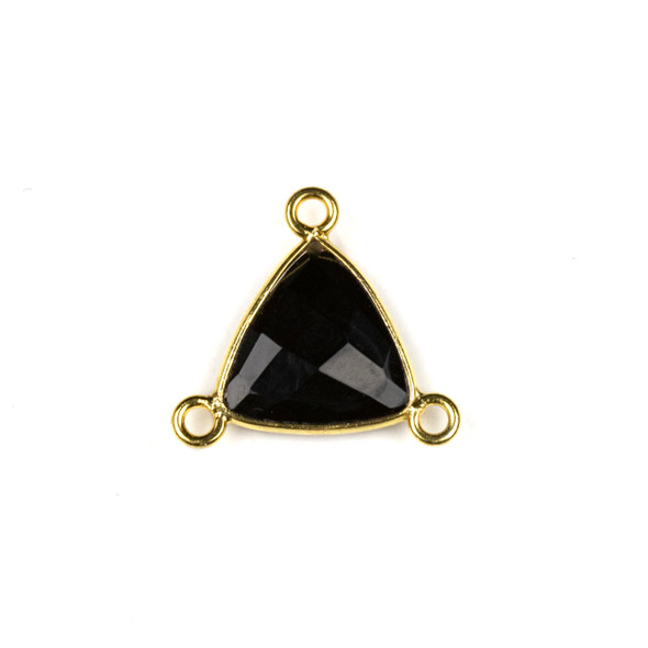 Onyx 16x18mm Faceted Triangle Link with a Gold Plated Brass Bezel and 3 Loops - 1 per bag