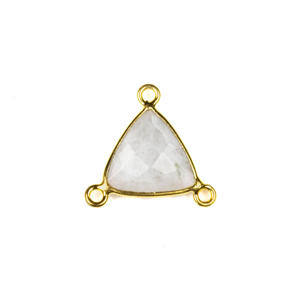 Moonstone 16x18mm Faceted Triangle Link with a Gold Plated Brass Bezel and 3 Loops - 1 per bag