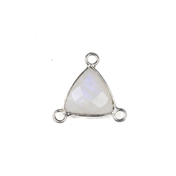Moonstone 16x18mm Faceted Triangle Link with a Silver Plated Brass Bezel and 3 Loops - 1 per bag