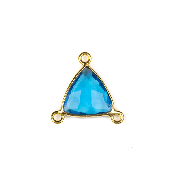 London Blue Quartz 16x18mm Faceted Triangle Link with a Gold Plated Brass Bezel and 3 Loops - 1 per bag