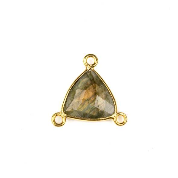 Labradorite 16x18mm Faceted Triangle Link with a Gold Plated Brass Bezel and 3 Loops - 1 per bag