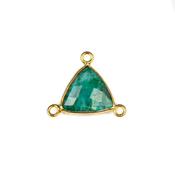 Emerald 16x18mm Faceted Triangle Link with a Gold Plated Brass Bezel and 3 Loops - 1 per bag