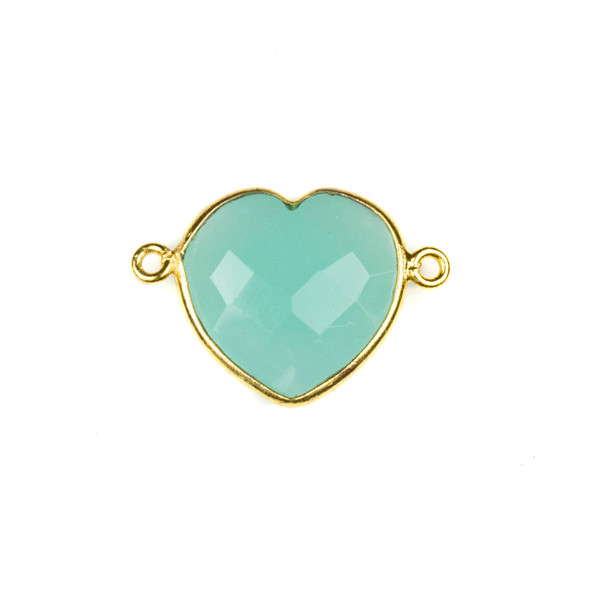 Aqua Chalcedony 16x23mm Faceted Heart Link with a Gold Plated Brass Bezel - 1 per bag