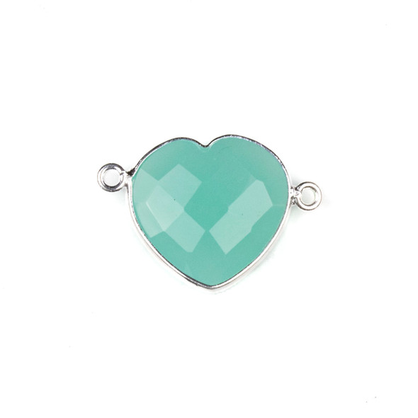 Aqua Chalcedony 16x23mm Faceted Heart Link with a Silver Plated Brass Bezel - 1 per bag