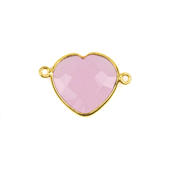 Pink Chalcedony 16x23mm Faceted Heart Link with a Gold Plated Brass Bezel - 1 per bag