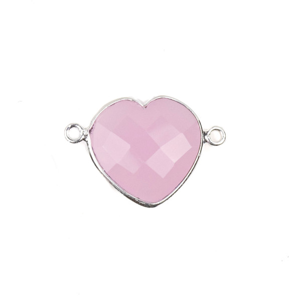 Pink Chalcedony 16x23mm Faceted Heart Link with a Silver Plated Brass Bezel - 1 per bag