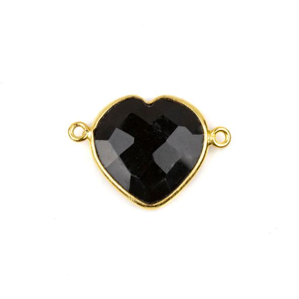 Onyx 16x23mm Faceted Heart Link with a Gold Plated Brass Bezel - 1 per bag