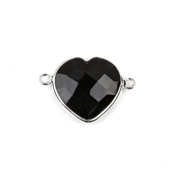 Onyx 16x23mm Faceted Heart Link with a Silver Plated Brass Bezel - 1 per bag