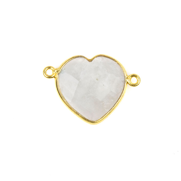 Moonstone 16x23mm Faceted Heart Link with a Gold Plated Brass Bezel - 1 per bag
