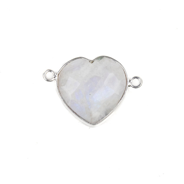Moonstone 16x23mm Faceted Heart Link with a Silver Plated Brass Bezel - 1 per bag