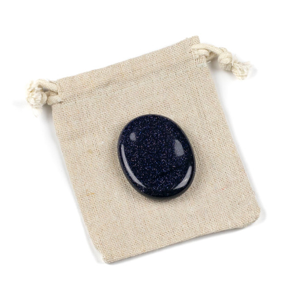 Blue Goldstone Worry Stone - 1 per bag