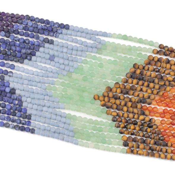 Matte Chakra 6mm Round Gemstone Artisan Strand - 14 inch strand