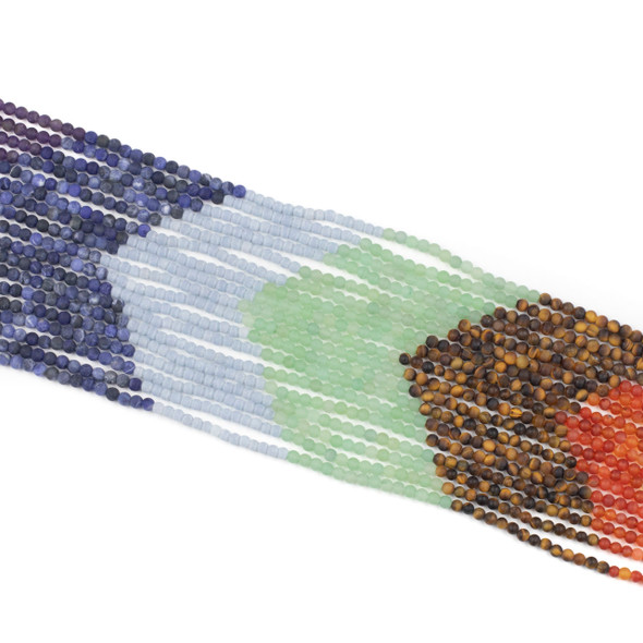 Matte Chakra 4mm Round Gemstone Artisan Strand - 15.3 inch strand