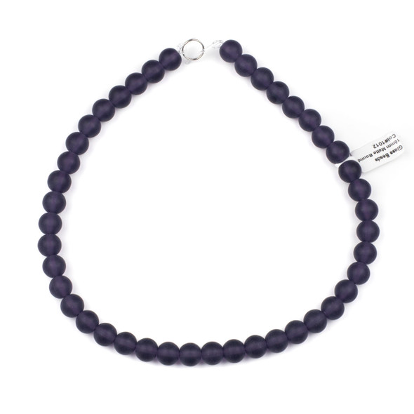 Matte Glass, Sea Glass Style 10mm Lilac Purple Round Beads - 16 inch strand